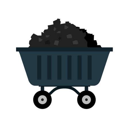 Węgiel, kopalnia, wózek ikona wektor obrazu. Może być również stosowany do energii i technologii. Nadaje się do aplikacji internetowych, aplikacji mobilnych i mediów drukowanych.