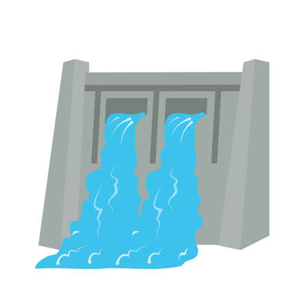 hydro electric: Dam, water, hydro electric icon vector image. Can also be used for energy and technology. Suitable for web apps, mobile apps and print media.