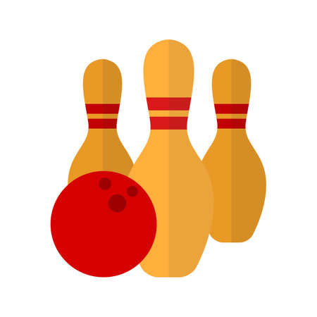 skittles: Ball, bowling, pins, throw, sports icon vector image. Can also be used for fitness, recreation. Suitable for web apps, mobile apps and print media. Illustration