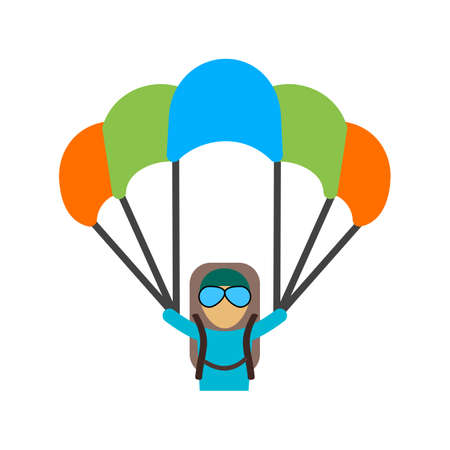 fallschirm: Paragliding, Segelflugzeug, Fallschirmspringen, Springen, Sport Symbol Vektor-Bild. Kann auch f�r Fitness, Erholung genutzt werden. Geeignet f�r Web-Anwendungen, mobile Anwendungen und Printmedien.