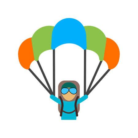 Paragliding, zweefvliegen, parachute, springen, sport pictogram vector afbeelding. Kan ook worden gebruikt voor fitness, recreatie. Geschikt voor web apps, mobiele apps en gedrukte media. Stock Illustratie