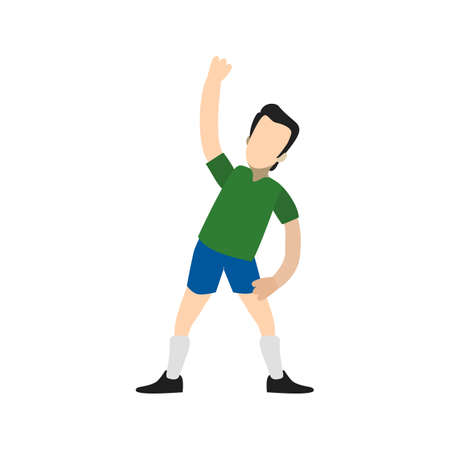 activity exercising: Stretch, athlete, exercise, standing, sports icon vector image. Can also be used for fitness, recreation. Suitable for web apps, mobile apps and print media. Illustration