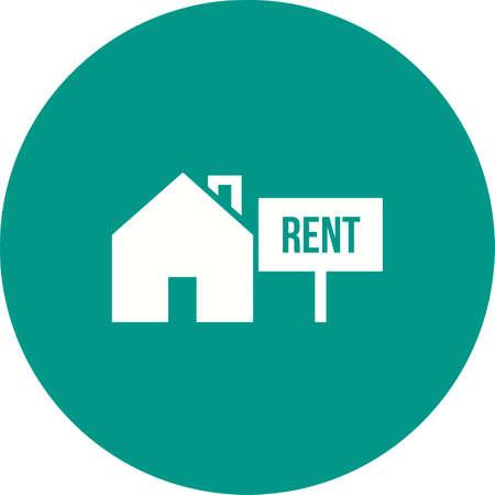 家、賃貸、投資のアイコン ベクトル画像。不動産、財産、土地及び建物の使用もできます。携帯アプリ、web アプリ、印刷メディアに適しています。