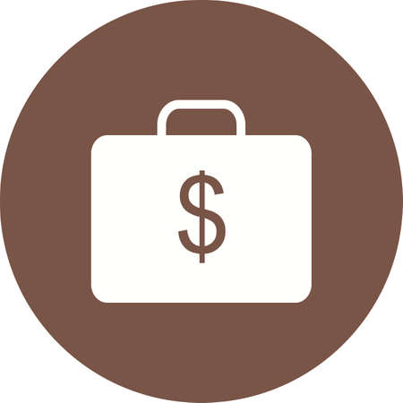 accounts: Briefcase, money, suitcase icon vector image. Can also be used for business, finance and accounts. Suitable for web apps, mobile apps and print media. Illustration