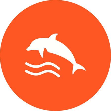 delfin: Delfin, ryby, ikona wody wektor obrazu. Może być również stosowany na lato, rekreacji i zabawy. Nadaje się do stosowania w aplikacjach mobilnych, aplikacji internetowych i mediów drukowanych. Ilustracja