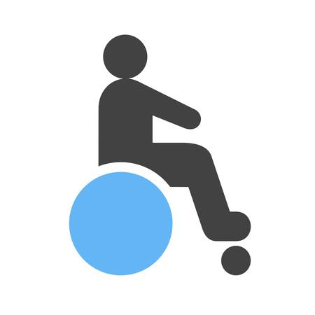paralyze: Disabled person, paralyze icon vector image. Can also be used for healthcare and medical. Suitable for mobile apps, web apps and print media.