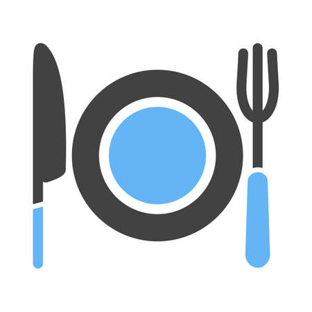 eatables: Plate, fork, knife icon vector image. Can also be used for eatables, food and drinks. Suitable for use on web apps, mobile apps and print media