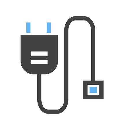 Power cable, HDMI, computer icon vector image. Can also be used for computer and hardware. Suitable for use on web apps, mobile apps and print media. Illustration