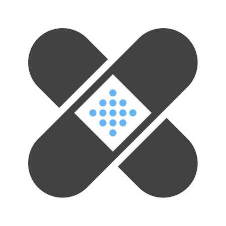 Banda, ayuda,, icono del vendaje de imágenes médicas vectorial. También se puede utilizar para la asistencia sanitaria y médica. Adecuado para aplicaciones móviles, aplicaciones web y medios impresos. Ilustración de vector