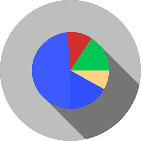 media distribution: Pie chart, statistics, data, distribution icon vector image. Can also be used for seo, digital marketing, technology. Suitable for use on web apps, mobile apps and print media.