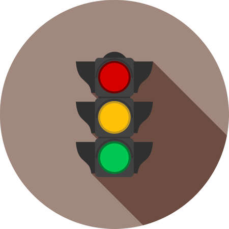 light signal: Traffic, light, signal icon vectgor image. Can also be used for transport, transportation and travel. Suitable for mobile apps, web apps and print media. Illustration