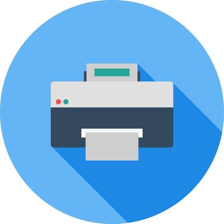 프린터, 인쇄 기계, 디지털 프린터 아이콘 벡터 이미지. 또한 인쇄, 사무실 장비 및 복사에 사용할 수 있습니다. 웹 앱, 모바일 앱 및 인쇄 매체에 적합