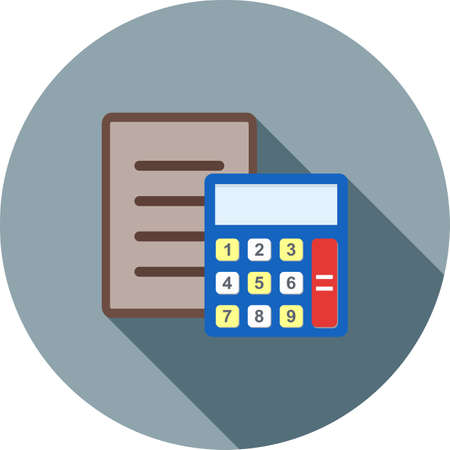 taxation: Document, calculation, sheet, icon vector image.Can also be used for banking, finance, business. Suitable for web apps, mobile apps and print media. Illustration
