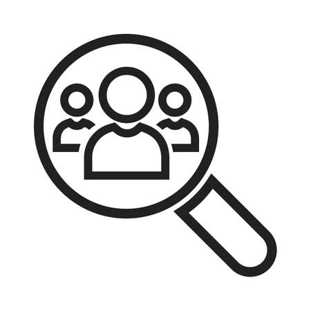 symol: Magnifying glass, users, people, analytics icon vector image. Can also be used for SEO, digital marketing, technology. Suitable for web apps, mobile apps and print media.