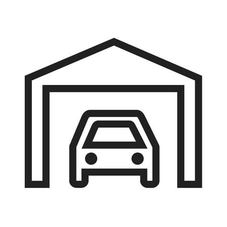 parking garage: Car, garage,parking icon vector image. Can also be used for real estate, property, land and buildings. Suitable for mobile apps, web apps and print media.