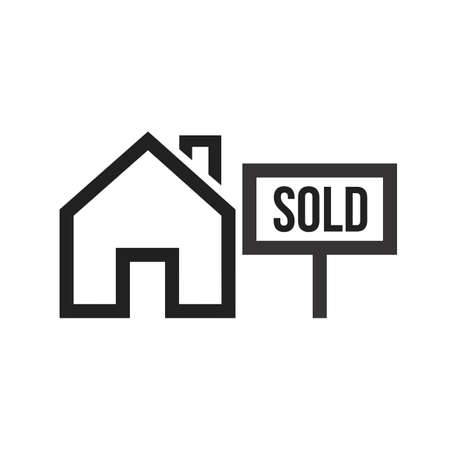 vector image: Sold, house, sale icon vector image. Can also be used for real estate, property, land and buildings. Suitable for mobile apps, web apps and print media. Illustration
