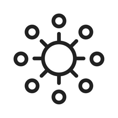 Gear, marketing, sociaal, netwerk pictogram vector afbeelding. Kan ook worden gebruikt voor SEO, digitale marketing, technologie. Geschikt voor web-apps, mobiele apps en gedrukte media. Stock Illustratie