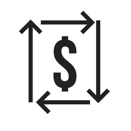 exchange profit: Exchange, dollar, profit, return icon vector image. Can also be used for SEO, digital marketing, technology. Suitable for web apps, mobile apps and print media. Illustration