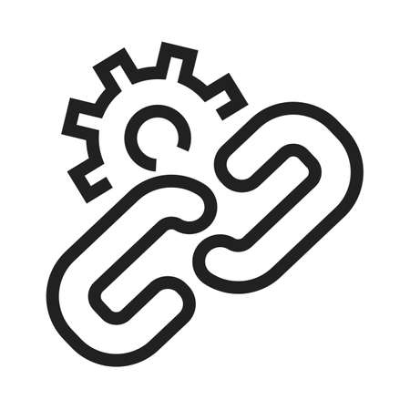interconnected: Chain, link, gear, connect icon vector image. Can also be used for SEO, digital marketing, technology. Suitable for web apps, mobile apps and print media. Illustration