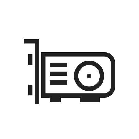 vga: video card, card, vga icon vector image. Can also be used for computer and hardware. Suitable for use on web apps, mobile apps and print media. Illustration