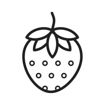 eatables: Strawberry, fruit icon vector image. Can also be used for eatables, food and drinks. Suitable for use on web apps, mobile apps and print media