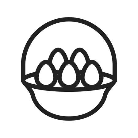 eggs basket: Eggs, basket, hen icon vector image.Can also be used for easter, celebration, observances and holidays. Suitable for mobile apps, web apps and print media. Illustration