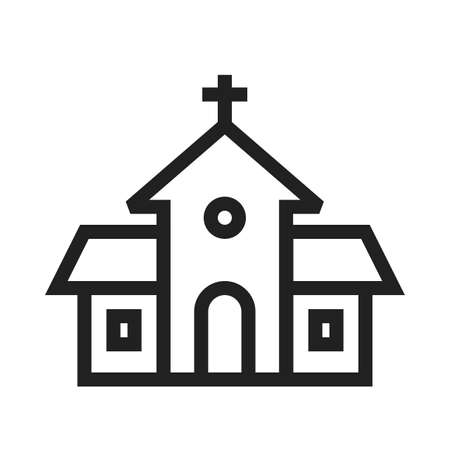 church building: Building, church, religious icon vector image.Can also be used for easter, celebration, observances and holidays. Suitable for mobile apps, web apps and print media. Illustration