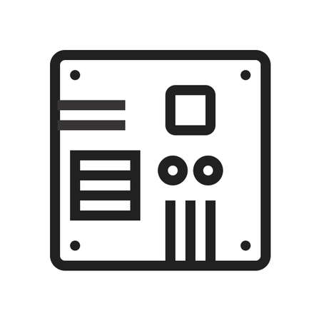 intel: Motherboard, computer, circuit, board icon vector image. Can also be used for computer and hardware. Suitable for use on web apps, mobile apps and print media.
