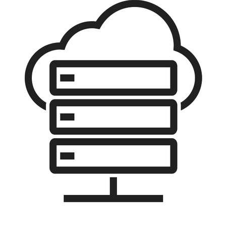 Wolk, gegevensverwerking, computer, netwerk pictogram vector afbeelding. Kan ook worden gebruikt voor computer hardware, netwerk en verbinding. Geschikt voor gebruik op het web apps, mobiele apps en gedrukte media.