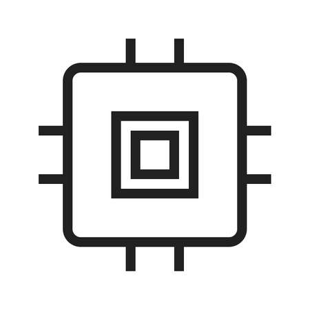 ic: Chip, ic, circuit icon vector image. Can also be used for computer hardware, computer network and connection. Suitable for use on web apps, mobile apps and print media.
