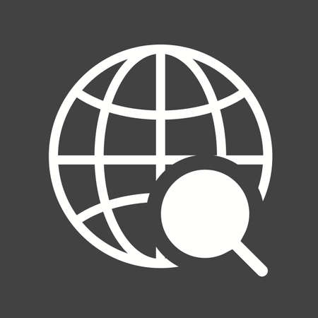 world connectivity: Globe, internet, world, magnifier icon vector image. Can also be used for seo, digital marketing, technology. Suitable for use on web apps, mobile apps and print media.