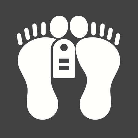 cemetry: Feet, tag, dead, dead person icon vector image. Can also be used for healthcare and medical. Suitable for mobile apps, web apps and print media.