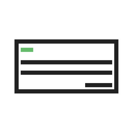 chequebook: Cheque, draft, signed icon vector image.Can also be used for banking, finance, business. Suitable for web apps, mobile apps and print media.