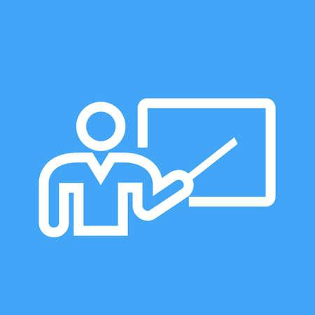 강사, 교수, 교사 아이콘 벡터 이미지입니다. 또한 교육, 학문과 과학에 사용할 수 있습니다. 웹 앱, 모바일 앱, 인쇄 매체에서 사용하기에 적합합니다.
