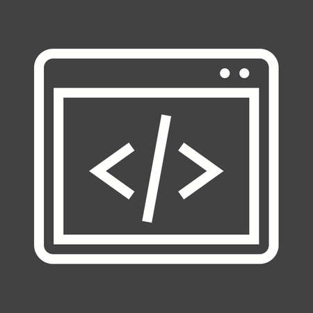 programming code: Code, coding, programming, development icon vector image. Can also be used for seo, digital marketing, technology. Suitable for use on web apps, mobile apps and print media. Illustration