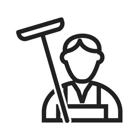mop floor: Cleaner, house, service icon vector image. Can also be used for professionals. Suitable for web apps, mobile apps and print media. Illustration