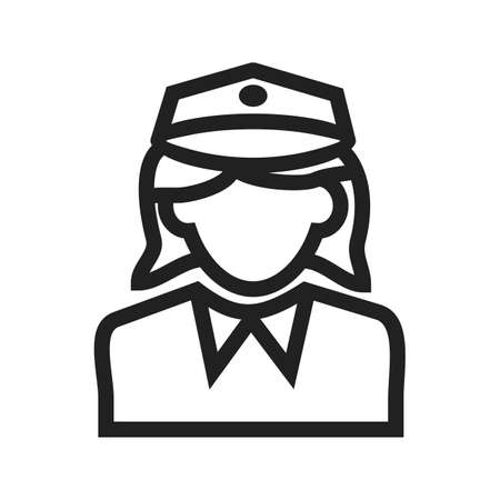 female cop: Police, officer, woman icon vector image. Can also be used for professionals. Suitable for web apps, mobile apps and print media.