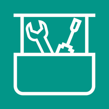 latch: Tool box, box, container icon vector image. Can also be used for construction, interiors and building. Suitable for use on web apps, mobile apps and print media. Illustration