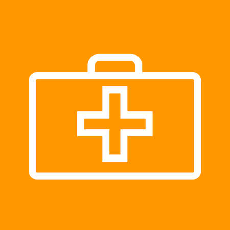 erste hilfe koffer: First aid, kit, box icon vector image. Can also be used for healthcare, medical and hospital. Suitable for mobile apps, web apps and print media. Illustration