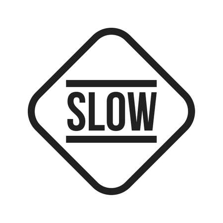 slow: Slow, sign, down icon vector image. Can also be used for traffic signs. Suitable for web apps, mobile apps and print media. Illustration
