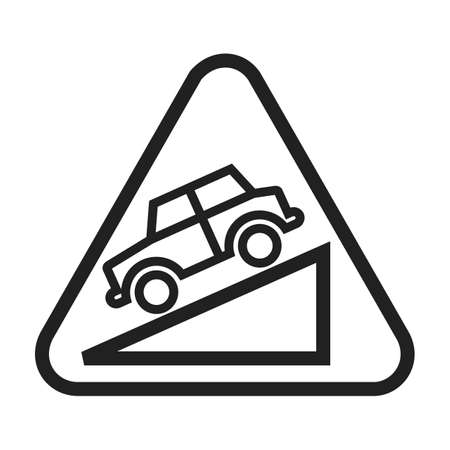 slump: Down, warning, sign icon vector image. Can also be used for traffic signs. Suitable for web apps, mobile apps and print media.