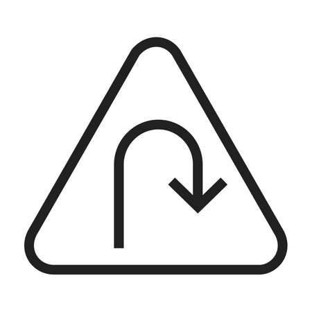 u turn: Turn, road, sign icon vector image. Can also be used for traffic signs. Suitable for web apps, mobile apps and print media.
