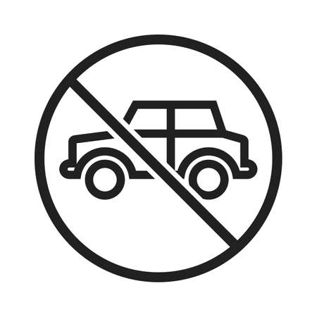 road construction: No, parking, sign icon vector image. Can also be used for traffic signs. Suitable for web apps, mobile apps and print media.