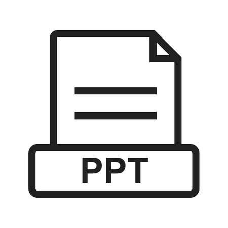 ppt: PPT, file, presentation icon vector image. Can also be used for file format, design and storage. Suitable for mobile apps, web apps and print media.