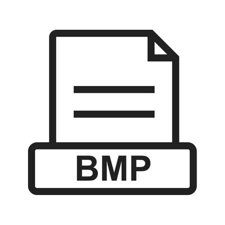 file types: BMP, file, extension icon vector image. Can also be used for file format, design and storage. Suitable for mobile apps, web apps and print media.