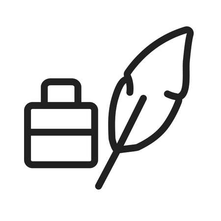 poet: Feather pen, quill icon Illustration
