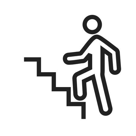 staircase: Stairs, climbing, walking icon vector image. Can also be used for activities. Suitable for use on web apps, mobile apps and print media. Illustration