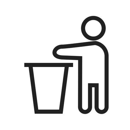 litter bin: Bin, litter, trash icon vector image. Can also be used for activities. Suitable for use on web apps, mobile apps and print media.