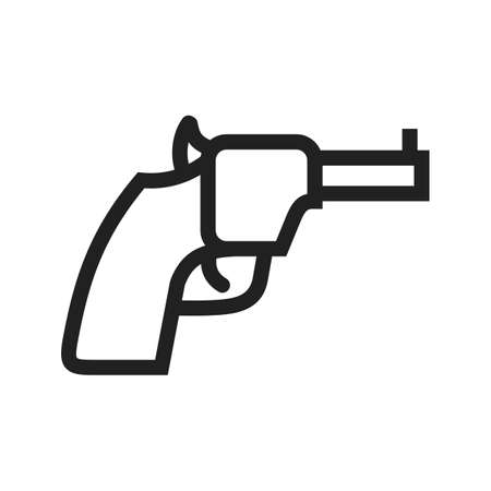 use pistol: Revolver, gun, pistol icon vector image. Can also be used for military. Suitable for use on web apps, mobile apps and print media.