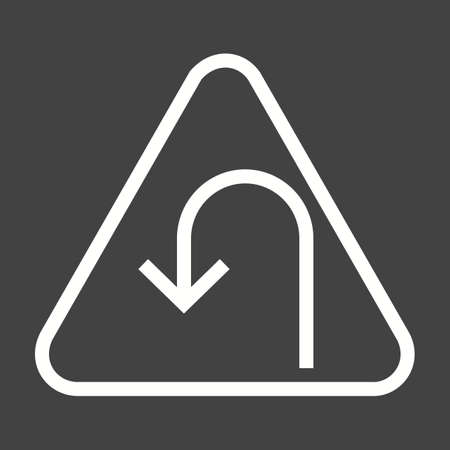 bend: Sign, traffic, bend icon vector image. Can also be used for traffic signs. Suitable for web apps, mobile apps and print media.